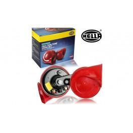 แตรหอยโข่ง HELLA สีแดง 12 โวลท์ (กล่องละ 2ตัว)