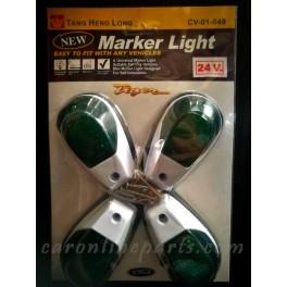 ไฟสัญญาณขอบขาว สีเขียว 24V No.CV-01-049 THL